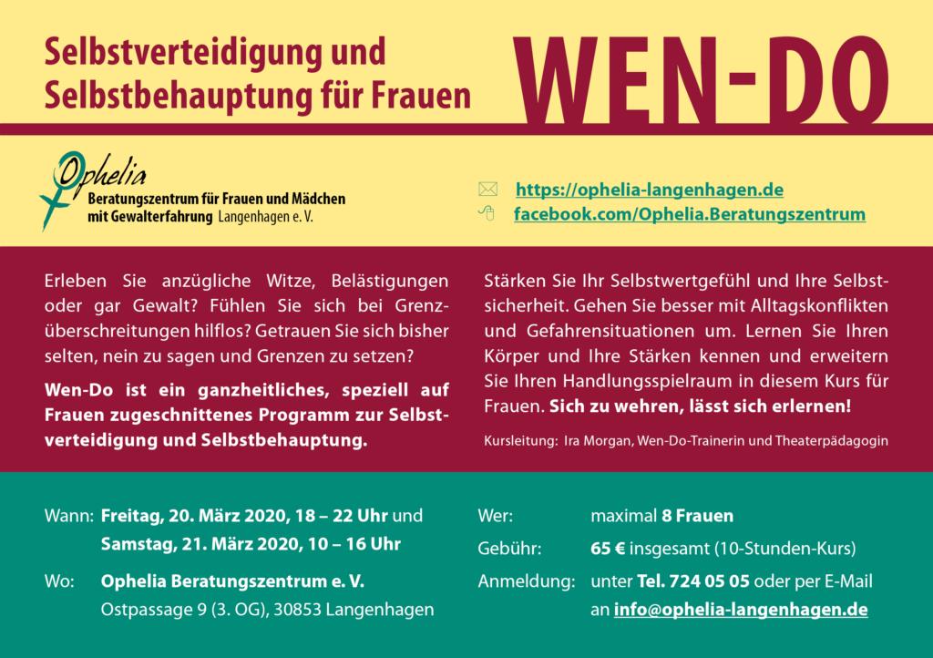 20./21.03.2020: Selbstverteidigung und Selbstbehauptung für Frauen (Wen-Do) im Ophelia Beratungszentrum Langenhagen